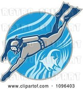 Vector Clip Art of Retro Scuba Diver Swimming with an Angel Fish by Patrimonio