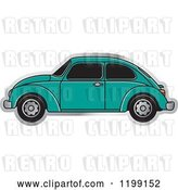Vector Clip Art of Retro Sea Green Vw Beetle Car with Tinted Windows by Lal Perera