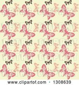 Vector Clip Art of Retro Seamless Background of a Black and Pink Butterfly Pattern on Pastel Yellow by KJ Pargeter
