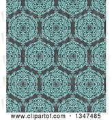 Vector Clip Art of Retro Seamless Background of a Turquoise Blue Circuolar Pattern over Gray by KJ Pargeter