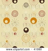Vector Clip Art of Retro Seamless Background of White, Brown, Red and Orange Bursts and Circles on Beige by KJ Pargeter