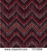 Vector Clip Art of Retro Seamless Background Pattern of Knitted Brown, Orange, Burgundy, Purple and Red Chevrons by Vector Tradition SM