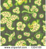 Vector Clip Art of Retro Seamless Background Pattern of Leaves and Flowers over Green by Cherie Reve