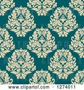 Vector Clip Art of Retro Seamless Background Pattern of Tan Damask Floral on Blue by Vector Tradition SM