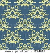 Vector Clip Art of Retro Seamless Background Pattern of Yellow Damask Floral on Blue by Vector Tradition SM