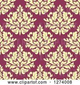 Vector Clip Art of Retro Seamless Background Pattern of Yellow Damask Floral on Pink by Vector Tradition SM