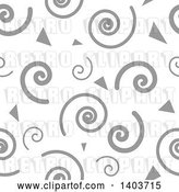 Vector Clip Art of Retro Seamless Grayscale Pattern Background of Spirals and Triangles by Dero