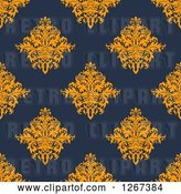 Vector Clip Art of Retro Seamless Pattern Background of Orange Floral Damask on Navy Blue by Vector Tradition SM
