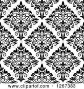 Vector Clip Art of Retro Seamless Pattern Background of Ornate Floral Damask by Vector Tradition SM
