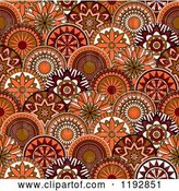Vector Clip Art of Retro Seamless Pattern of Orange and Brown Circle Flowers by Vector Tradition SM
