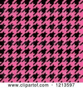 Vector Clip Art of Retro Seamless Pink and Black Houndstooth Pattern by Arena Creative