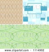 Vector Clip Art of Retro Seamless Tan Blue and Green Background Patterns by Dero