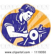 Vector Clip Art of Retro Seamstress Operating a Machine over Orange Rays by Patrimonio