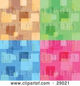 Vector Clip Art of Retro Set of Brown, Green, Blue and Pink Backgrounds with Abstract Square Patterns by KJ Pargeter
