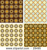 Vector Clip Art of Retro Set of Wallpaper Pattern Backgrounds of Orange, Brown and Blue Circles by KJ Pargeter