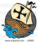 Vector Clip Art of Retro Ship, the Mayflower, Carrying Pilgrims on the Sea by Andy Nortnik
