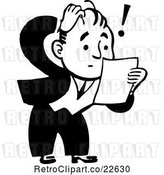 Vector Clip Art of Retro Shocked Guy Reading a Letter by BestVector