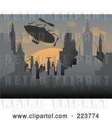 Vector Clip Art of Retro Silhouetted Airship over a Futuristic City at Sunset by Mheld