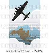 Vector Clip Art of Retro Silhouetted American Bomber Aircraft Flying over the USA by Xunantunich
