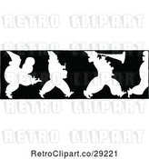 Vector Clip Art of Retro Silhouetted Border of Marching Clowns by Prawny Vintage
