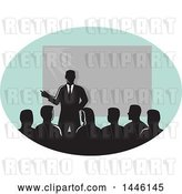 Vector Clip Art of Retro Silhouetted Businessman Giving a Lecture by a Projector in an Oval by Patrimonio