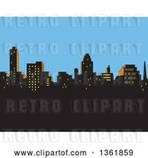 Vector Clip Art of Retro Silhouetted City Skyline Against an Afternoon Sky by Clip Art Mascots