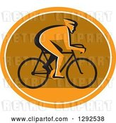 Vector Clip Art of Retro Silhouetted Cyclst in Profile Inside an Orange White and Brown Oval by Patrimonio
