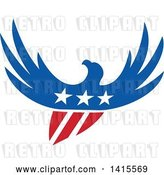 Vector Clip Art of Retro Silhouetted Flying American Bald Eagle in Red White and Blue with a Shield Body and Stars on Its Chest by Patrimonio