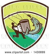 Vector Clip Art of Retro Silhouetted Guy Holding out a Coffee Mug and Reeling in a Hooked Salmon Fish in a Shield with a River by Patrimonio
