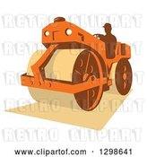 Vector Clip Art of Retro Silhouetted Guy Operating a Road Roller Machine by Patrimonio