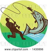 Vector Clip Art of Retro Silhouetted Guy Reeling in a Hooked Salmon Fish in a Circle with a River by Patrimonio
