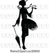 Vector Clip Art of Retro Silhouetted Lady in a Breeze, with an Umbrella by Prawny Vintage
