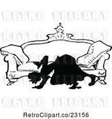 Vector Clip Art of Retro Silhouetted Lady Looking Under a Sofa by Prawny Vintage