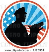 Vector Clip Art of Retro Silhouetted Security Guard and Dog over an American Circle by Patrimonio