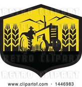Vector Clip Art of Retro Silhouetted Wheat Farmer Operating a Tractor in a Black and Yellow Crest by Patrimonio