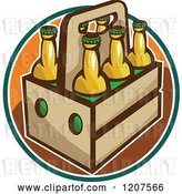 Vector Clip Art of Retro Six Pack of Beer Bottles by Patrimonio