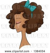 Vector Clip Art of Retro Sketched Black Lady in Profile, with Her Hair in a Curly 50s Style by BNP Design Studio