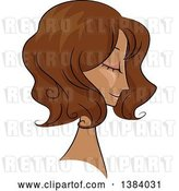 Vector Clip Art of Retro Sketched Black Lady in Profile, with Her Hair in a Wavy 50s Style by BNP Design Studio