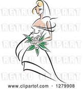 Vector Clip Art of Retro Sketched Blond Bride with Pastel Pink Flowers by Vector Tradition SM