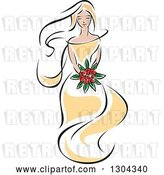 Vector Clip Art of Retro Sketched Blond White Bride in a Yellow Dress, Holding a Bouquet of Red Flowers by Vector Tradition SM