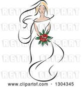 Vector Clip Art of Retro Sketched Blond White Bride with a Bouquet of Red Flowers by Vector Tradition SM