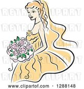 Vector Clip Art of Retro Sketched Blond White Bride with Pink Flowers and a Yellow Dress by Vector Tradition SM