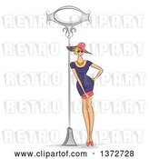 Vector Clip Art of Retro Sketched Blond White Lady in a Fashionable Dress, Leaning Against a Sign Post by BNP Design Studio