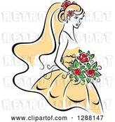 Vector Clip Art of Retro Sketched Bride with Blond Hair, Red Flowers and a Yellow Dress by Vector Tradition SM