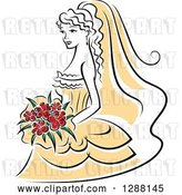 Vector Clip Art of Retro Sketched Bride with Red Flowers and a Yellow Dress by Vector Tradition SM