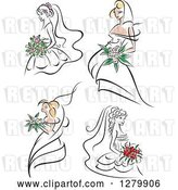 Vector Clip Art of Retro Sketched Brides with Pink and Red Flowers by Vector Tradition SM