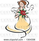 Vector Clip Art of Retro Sketched Brunette White Bride in a Yellow Dress, Holding a Bouquet of Red Flowers by Vector Tradition SM