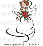 Vector Clip Art of Retro Sketched Brunette White Bride with a Bouquet of Pink Flowers by Vector Tradition SM
