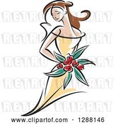 Vector Clip Art of Retro Sketched Brunette White Bride with Red Flowers and a Yellow Dress by Vector Tradition SM