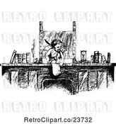 Vector Clip Art of Retro Sketched Cherub or Cupid at a Desk by Prawny Vintage